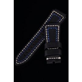 LEATHER STRAP 30-24mm TAPERED / BLACK / BEIGE+BLUE YARN
