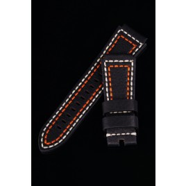 LEATHER STRAP / BLACK / 30-24mm TAPERED / BEIGE+ORANGE YARN
