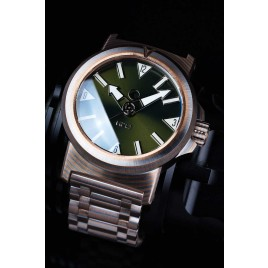 H2O KALMAR 2 MOKUME GANE / DIAL 64 GREEN / DOUBLE DOMED CRYSTAL