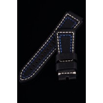 LEATHER STRAP 30-24mm TAPERED / BLACK / BEIGE+BLUE YARN