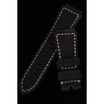 LEATHER STRAP 30-24mm TAPERED / SOFT BLACK / GREY YARN